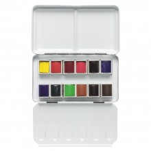 Sennelier Watercolour Paint : Metal Tin Of 12 1/2 Pans Pocket Set