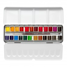 Sennelier : Watercolour Paint : Classic Metal Tin Set Of 24 Half Pans