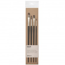 Jackson's : Black Hog Bristle Brush : Set of 4 : 2 & 6 Round, 6 Flat & 8 Filbert