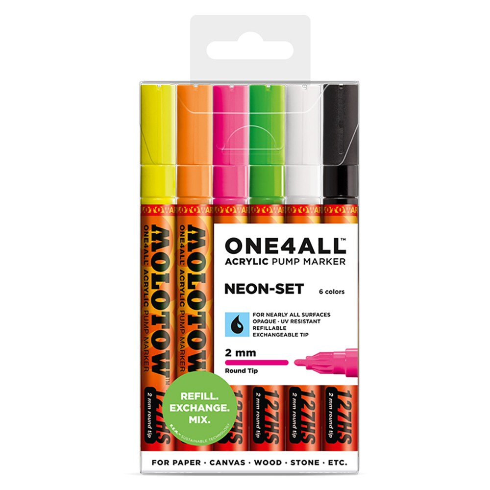 Molotow : One4All : 127HS : Acrylic Marker : Neon Set of 6
