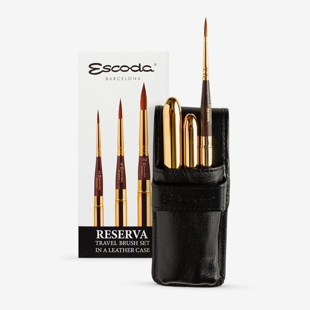 Escoda : Watercolour Travel Brush Set : Reserva : Series 1250 : Set of 3