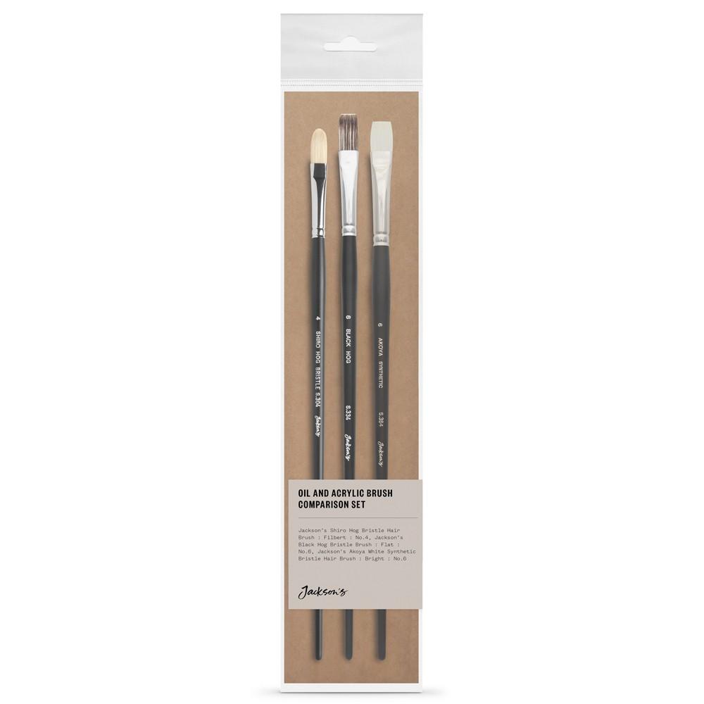 Jackson's : Oil & Acrylic Brush : Comparison Set of 3 : Akoya, Black Hog & Shiro