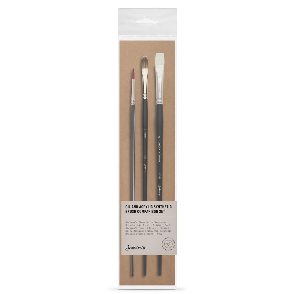 Jackson's : Oil & Acrylic Brush : Comparison Set of 3 : Akoya, Procryl & Shinku