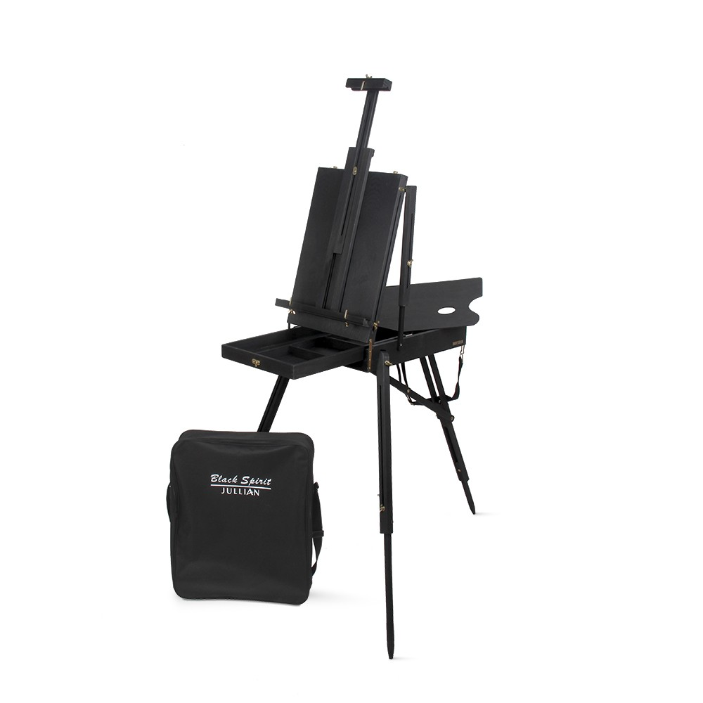 Jullian : Full Black French Easel : Pine Wood : With Carrying Bag