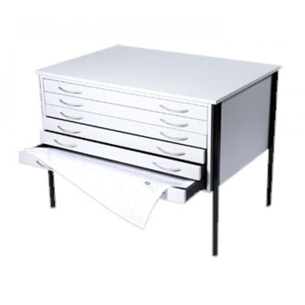 Vistaplan: Hölzerne Wirtschaft Planchest: 6 Schublade A0 in grau erhältlich: Light Eiche oder Buche