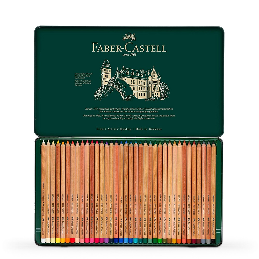 Faber Castell: Pitt Pastell Bleistift SET von 36 in Metall-Dose