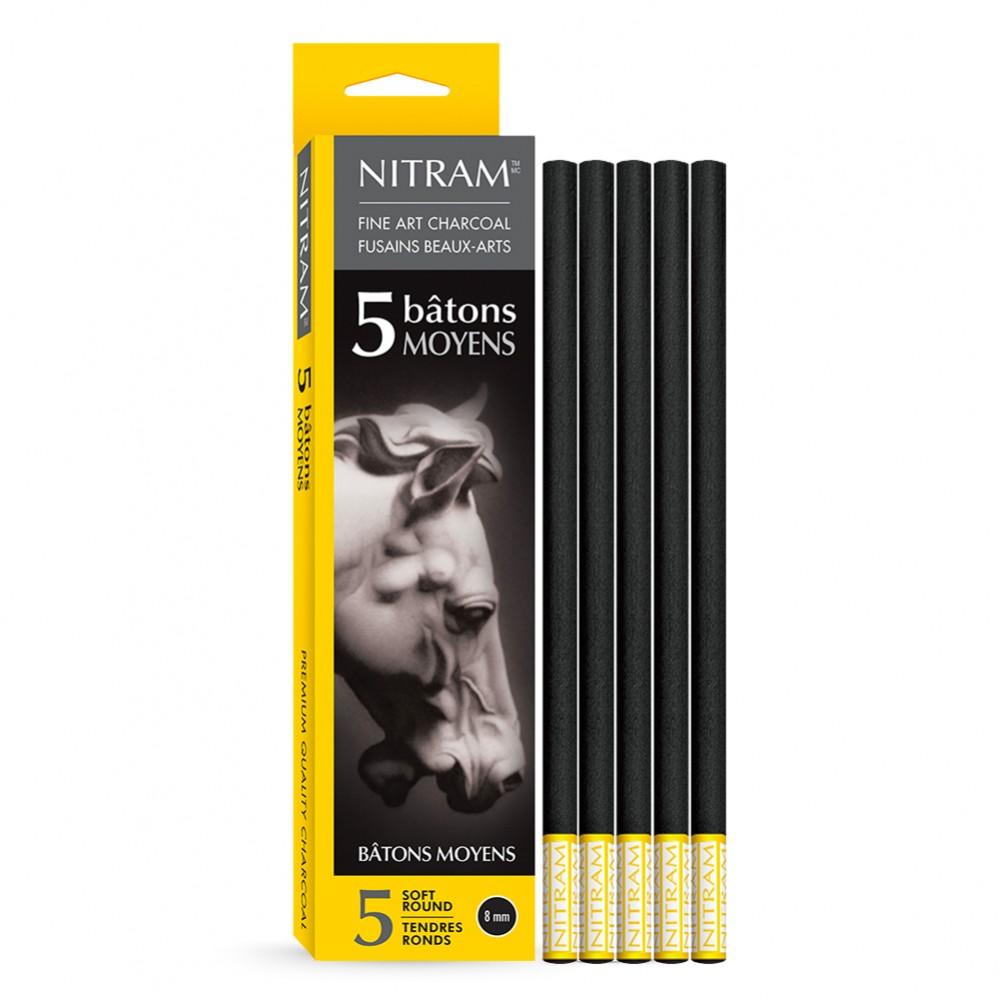 Nitram Fine Art Charcoal: B Tonnen Moyens (x 5) 8mm Runde Sticks