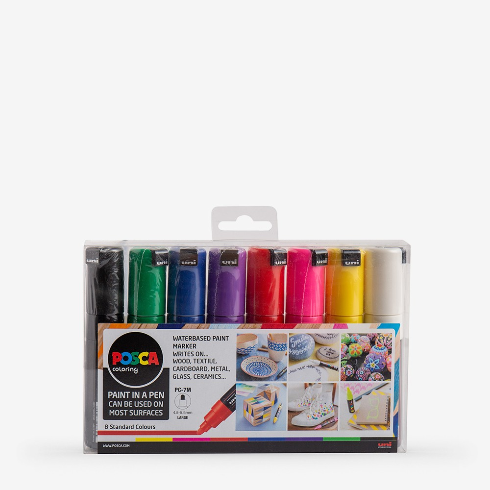 Uni : Posca Marker : PC-7M : Bullet Tip : 4.5 - 5.5mm : Starter Set of 8 Assorted Colours