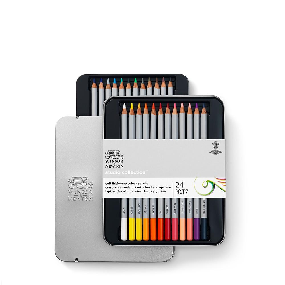 Winsor & Newton : Studio Collection : Soft Core Coloured Pencil : Set of 24
