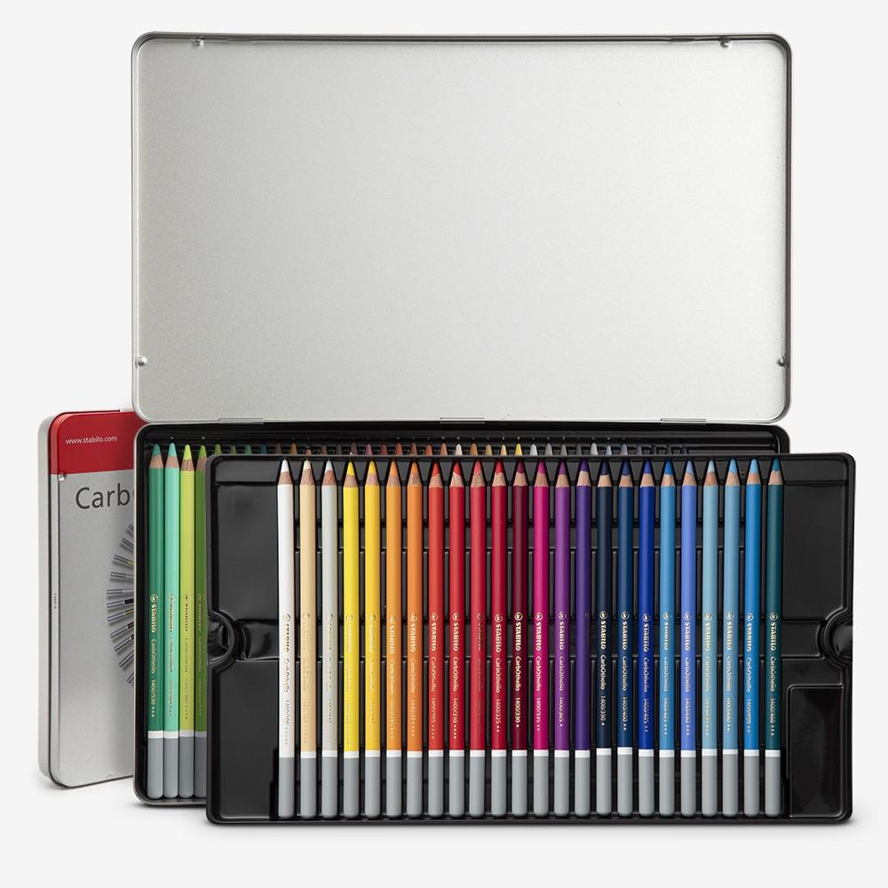 Stabilo Carbothello: Pastell Farbstifte 60 in Metall-Dose ~ in Metall-Dose mit Anspitzer - knetbare Radiergummi - Blender