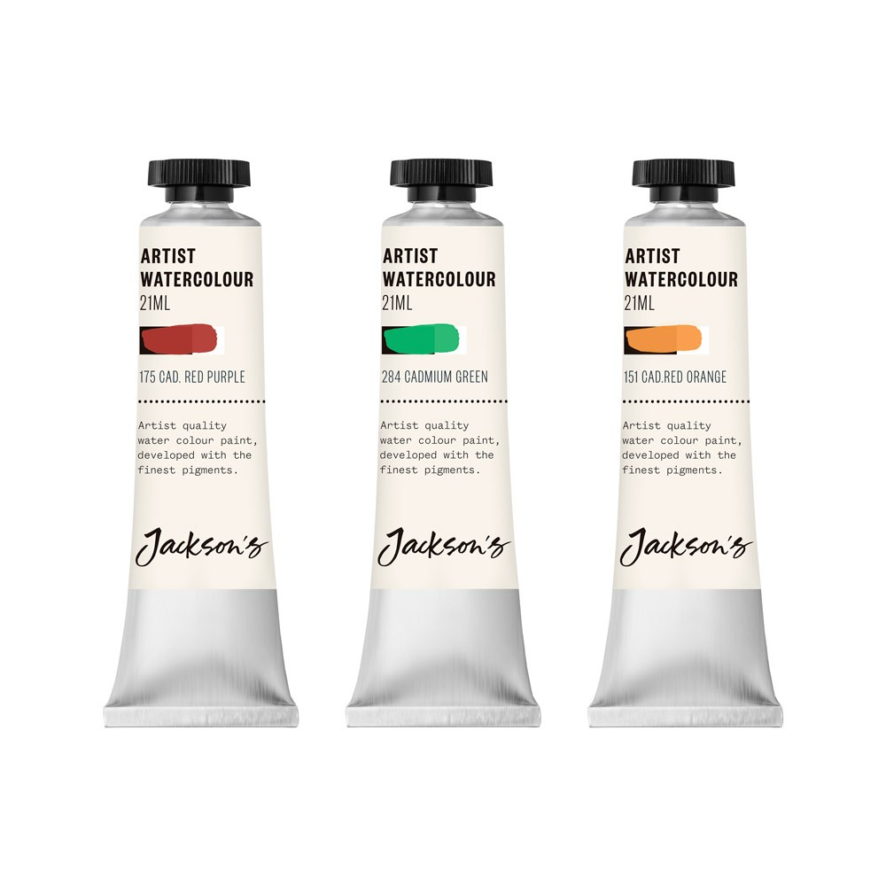 Jackson's : Artist Watercolour Paint : Cadmium Set 2 : 21ml : Set of 3