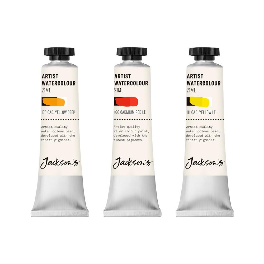 Jackson's : Artist Watercolour Paint : Cadmium Set 1 : 21ml : Set of 3