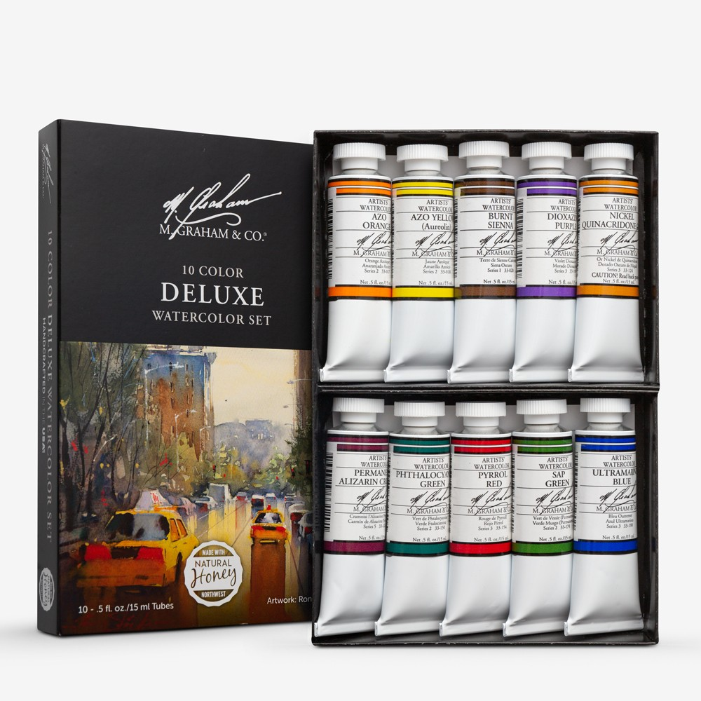 M. Graham : Artists' Watercolour Paint : 15ml : Deluxe (Intermediate) Set of 10