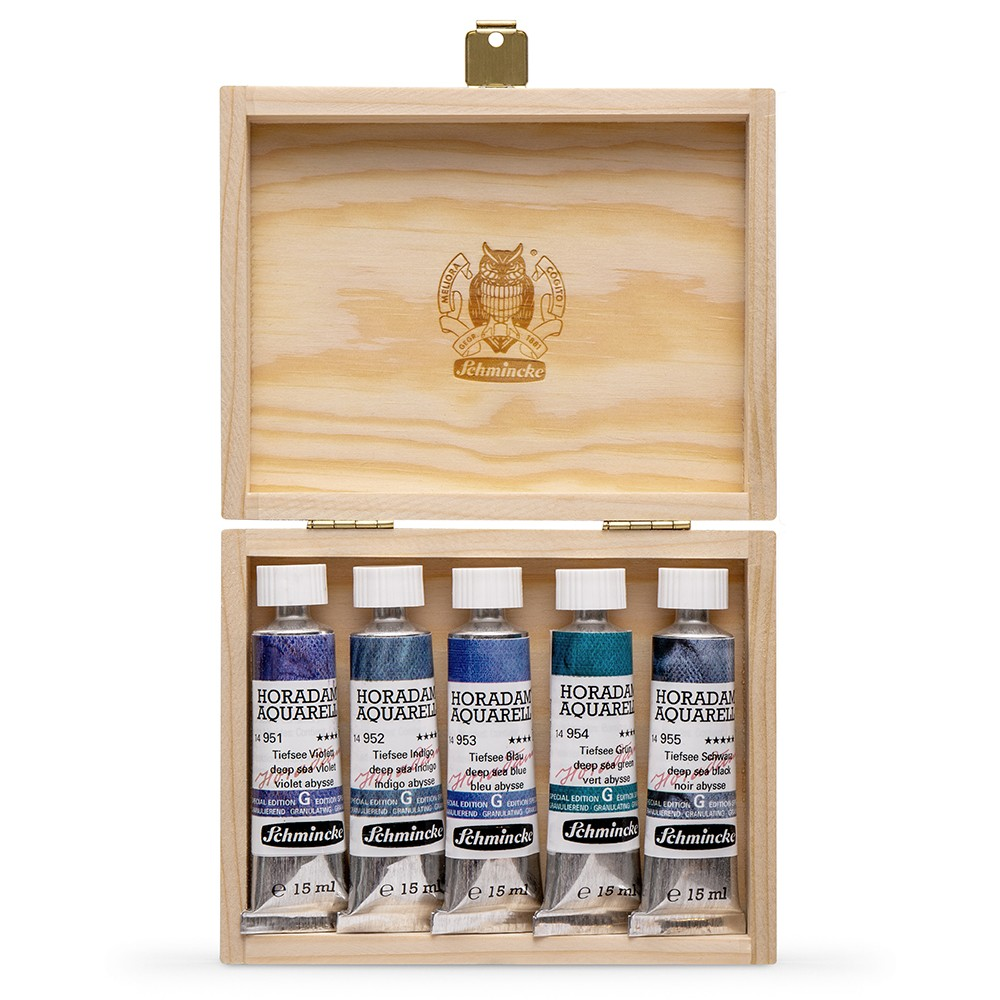 Schmincke : Horadam Watercolour Paint : Super Granulation Set : 15ml : 5 Deep Sea Colours