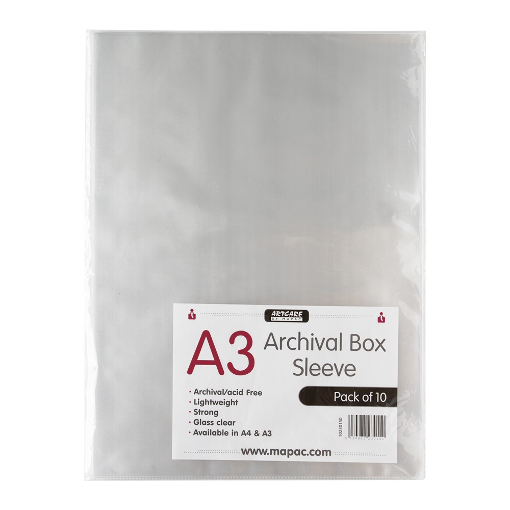Mapac : Archival Box Sleeve : A3 : Pack of 10 : Clear : No Ring Binder Holes