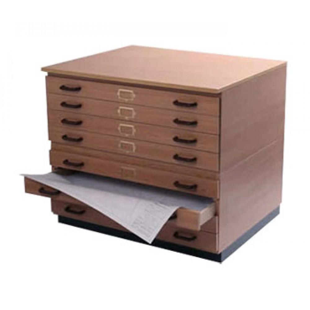 Vistaplan: Hölzerne traditionelle Planchest: 9 Schublade A0 in grau erhältlich: Light Oak