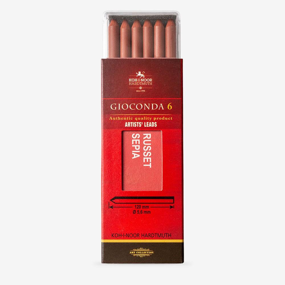 Koh-I-Noor: 5,6 mm führen: 6 x rostbraunem Sepia Zeichnung Kreide 120mm 4373