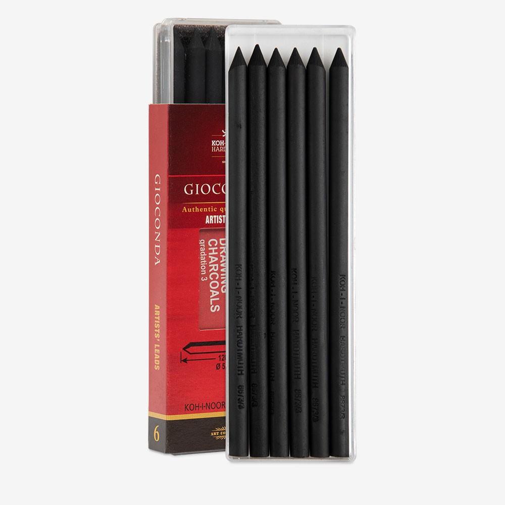Koh-I-Noor : Gioconda Compressed Charcoal for Leadholder 5.6mm : Set of 6 : Soft
