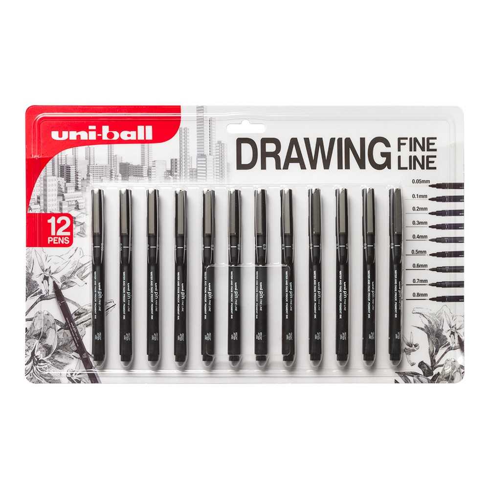 Uni Pin Fineliner Drawing Pen Sepia Tone 0.5mm Pack of 3