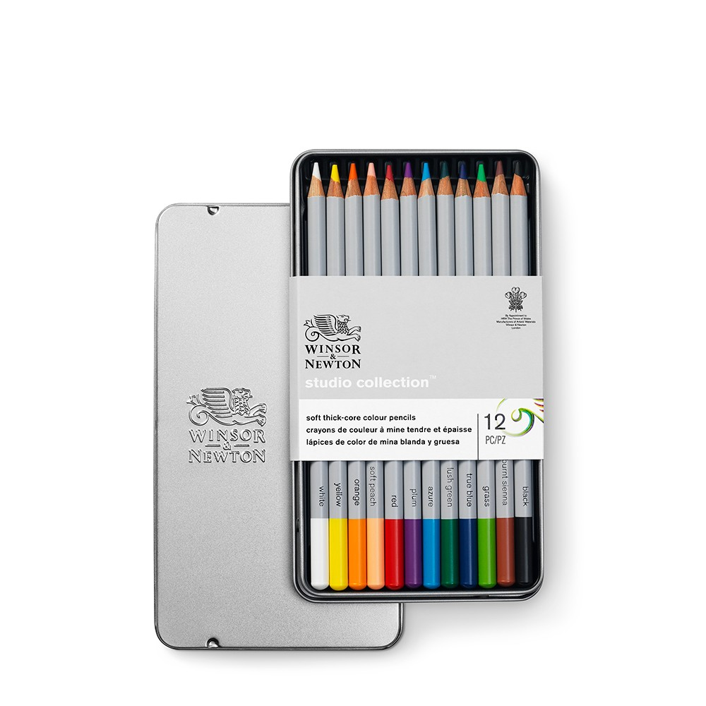 Winsor & Newton : Studio Collection : Soft Core Coloured Pencil : Set of 12