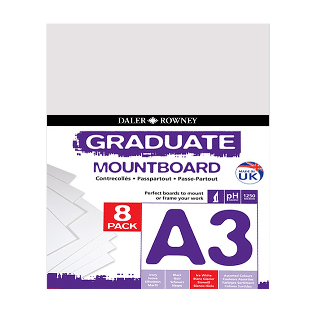 Daler Rowney A3 Graduate Mount Board Pack of 8 Ice White