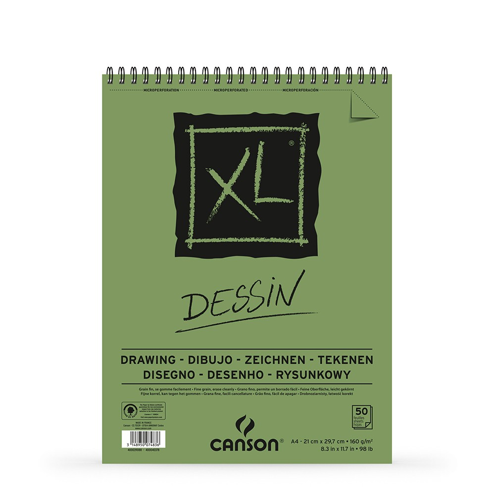 Canson : XL : Drawing : Spiral Pad : 160gsm : 50 Sheets : A4