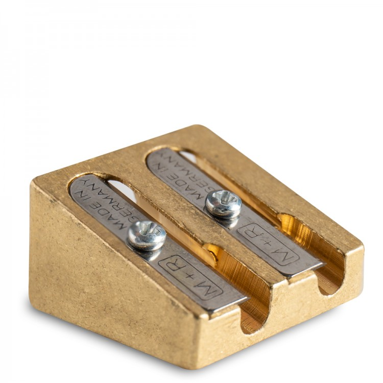 Jakar : Brass Double Hole Pencil Sharpener : Wedge Shape