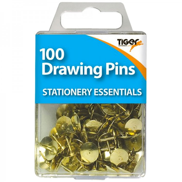 Tiger : Brass Drawing Pins : Pack of 100