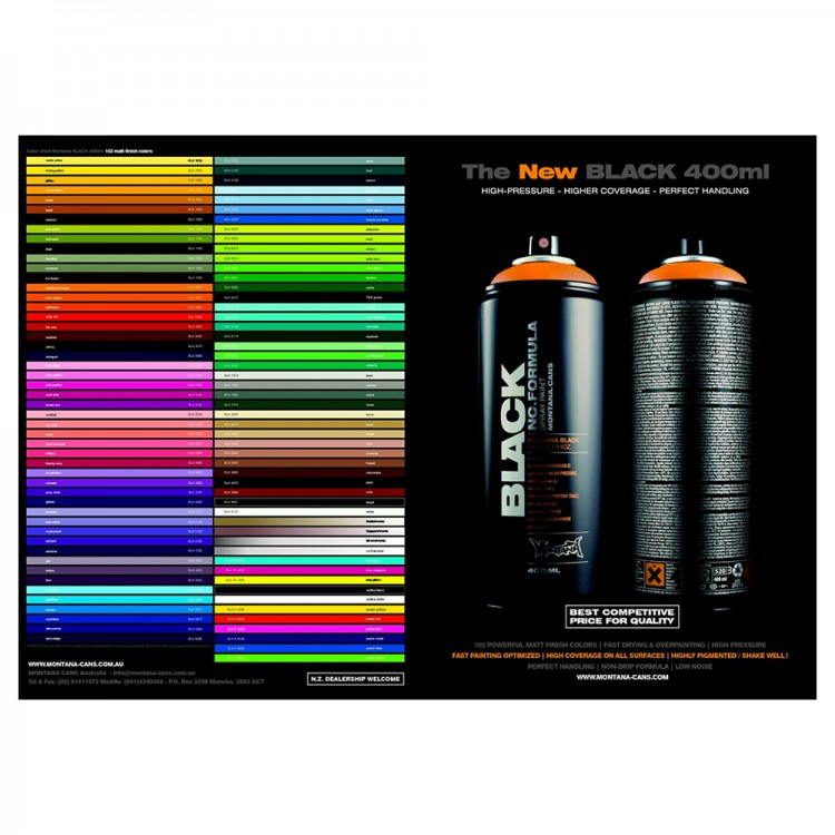 Montana Black Printed Colour Chart Jacksons Art Supplies