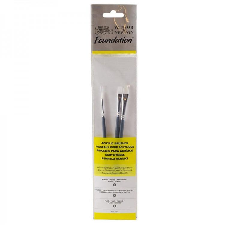 Winsor & Newton: Foundation-Acryl Pinsel-Set: SH Runde 2 Wohnung 2 & Filbert 4