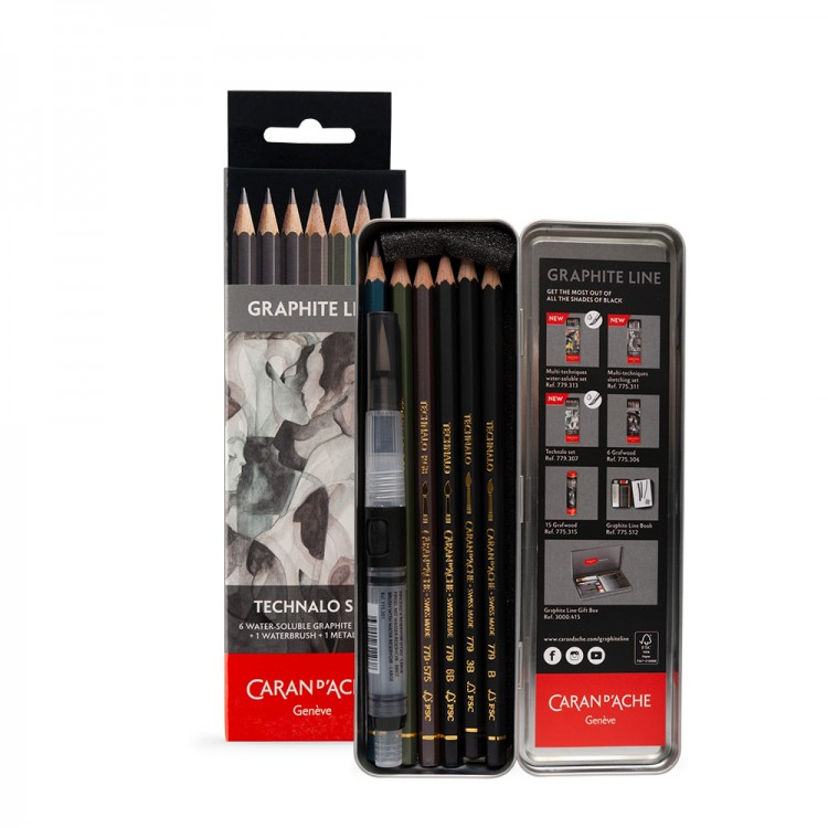 Caran d'Ache : Technalo : Watersoluble Graphite Pencil : Metal Set of 7