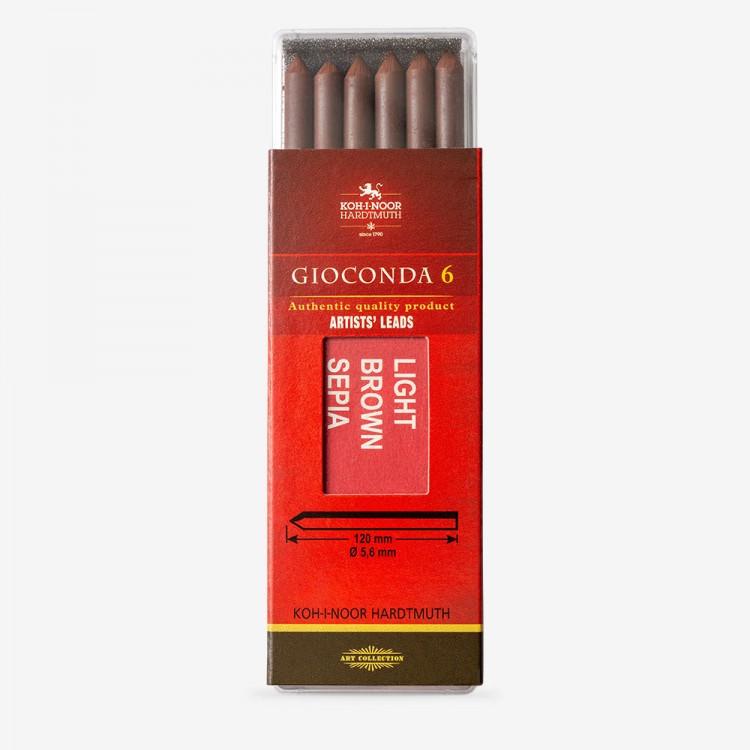 Koh-I-Noor: 5,6 mm führen: 6 x Sepia leichte braune Zeichnung Kreide 120mm 4377