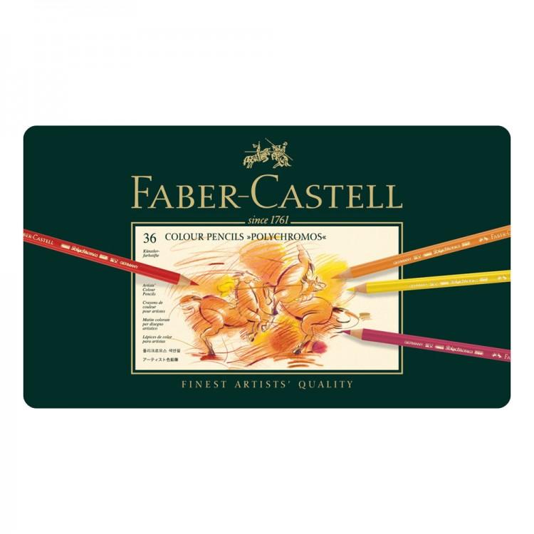 Faber Castell Polychromos Stifte: Satz von 36 in der Metall-Dose