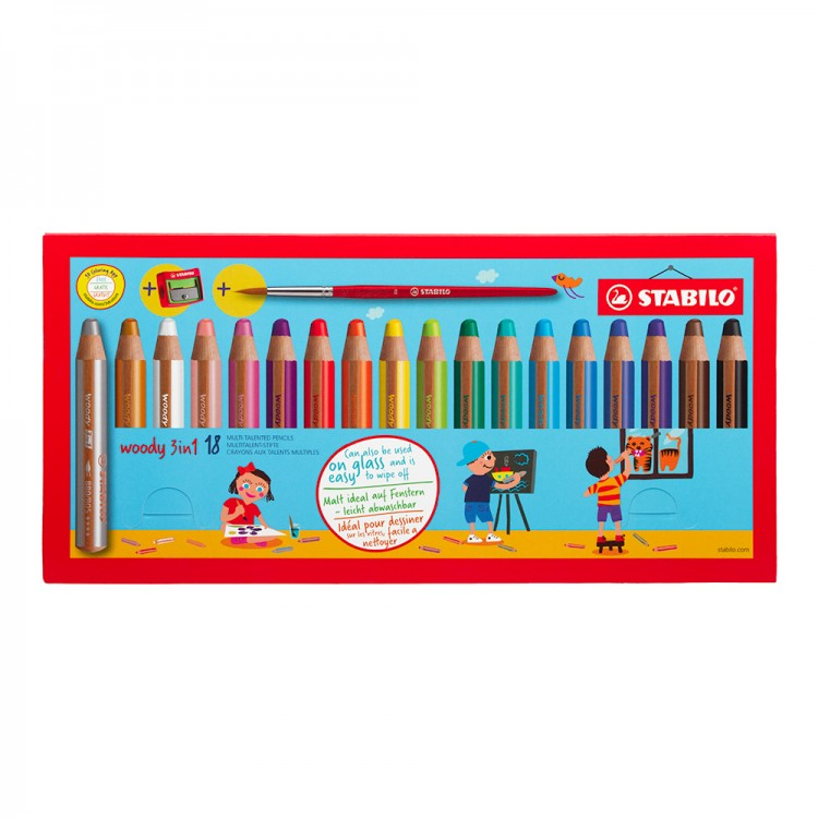 Stabilo : Woody 3-in-1 : Pencil : Wallet Set of 20 : 18 Colours Plus Sharpener and Brush