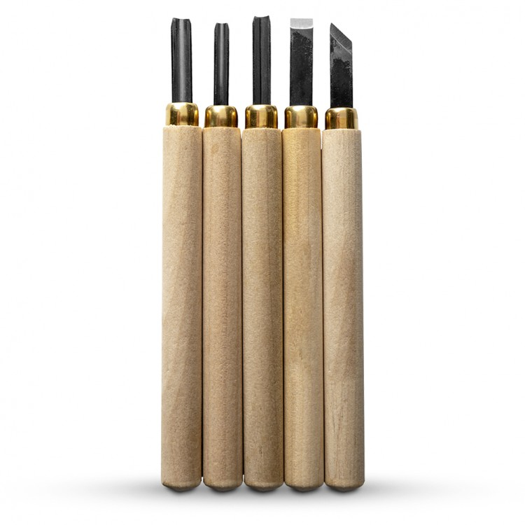 Japanese Woodcarving Tool : Set of 5 With Sharpening Stone
