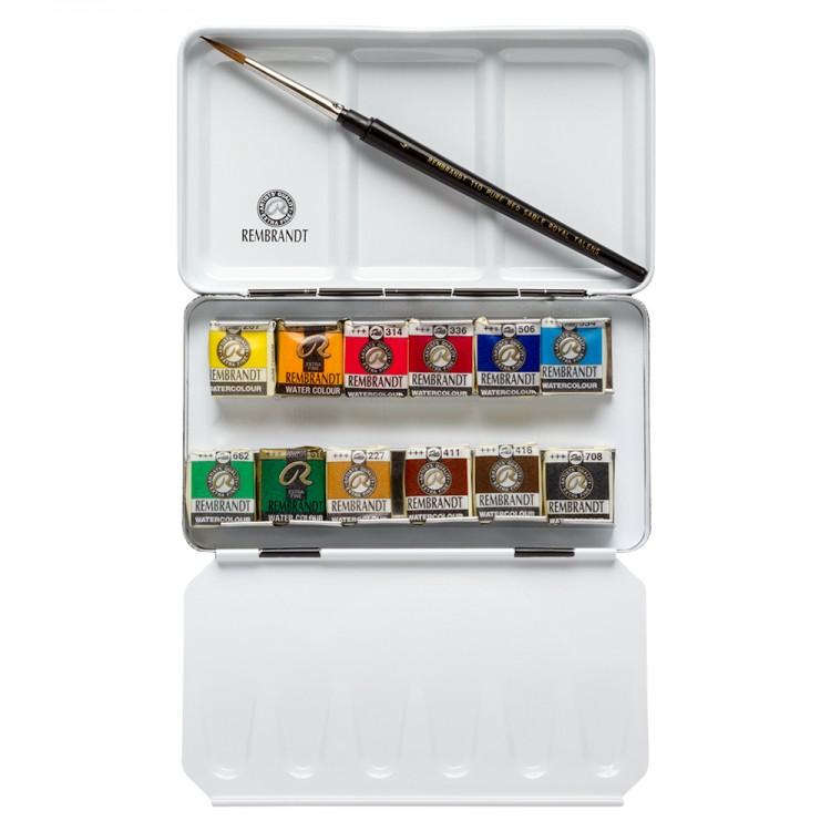 Rembrandt Aquarell: Set: 12 halbe Pfanne Metall-Basis-Set