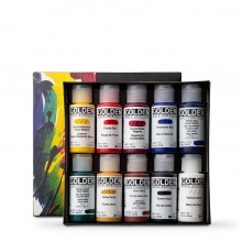 Golden : Fluid : Acrylic Paint : 30ml : Set of 10