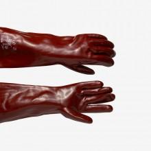 PVC-Handschuh : chemikalienbeständig, Länge 18 Zoll : Eine Größe