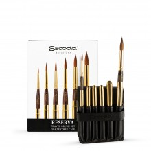 Escoda: RESERVA: Travel-Pinsel-Set In Leder Case Kolinsky-Tajmyr