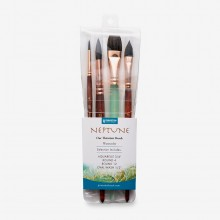 Princeton : Neptune : Synthetic Squirrel : Watercolour Brush : Series 4750 : Short Handle : Professional Set of 4