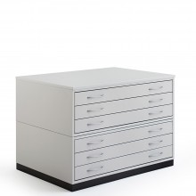 Vistaplan : Wooden Traditional Planchest : 6 Drawer A1 : Grey : UK Only