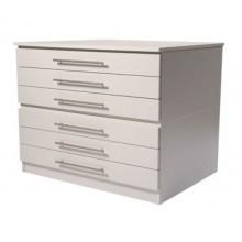 Vistaplan: Hölzerne traditionelle Planchest: 6 Schublade A0 in grau erhältlich: Light Oak