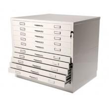 Vistaplan: Metall Planchest 10 Schublade A1 weiß