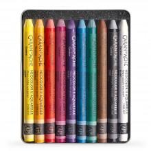 Caran Dache NEOCOLOR II: Künstler Aquarell Buntstifte: 10 in einer Metallbox