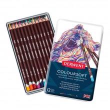 Derwent Coloursoft Bleistifte: Set 12 in einer Metall-Dose