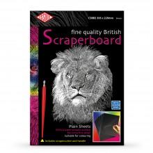 Essdee Scraperboard Schwarz beschichtet weiß: 305x229mm-Packung mit 10 Blatt