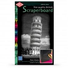 Essdee Scraperboard Schwarz beschichtet weiß: 502x305mm-Packung mit 10 Blatt