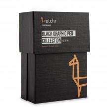 Etchr : Black Graphic Pen Collection : Set of 16