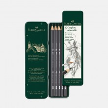 Faber Castell : Graphite Aquarelle Pencil : Metal Tin Set of 5