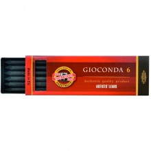Koh-I-Noor : Gioconda Compressed Charcoal for Leadholder 5.6mm : Set of 6 : Hard